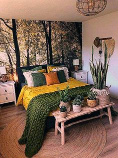 Bedroom Decor Fascinating Ideas On A Budget For Boho Bedroom With Plants And Textiles;Bohemian Bedroom Decor And Bedding Design Ideas Living Room Furniture, Home Furniture, Living Room Decor, Dark Furniture, Vintage Furniture, Furniture Ideas, Living Rooms, Room Color Schemes, Room Colors