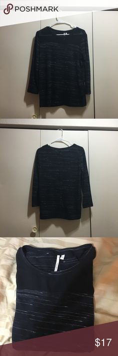 Black and White Striped Long Sleeve Shirt Gently used, excellent condition. No stains, holes/tears, or snags. Women's size small, however I am a medium and it fits me comfortably. Feel free to ask any questions! Calvin Klein Jeans Tops Tees - Long Sleeve