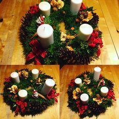 Christmas, advent wreath 2016. N6 Advent Wreath, Wreaths, Table Decorations, Christmas, Fun, Home Decor, Yule, Homemade Home Decor, Xmas