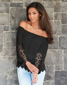 76223863c4aecb Lace Off Shoulder Bardot Top from Lipsy