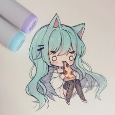 i cheated cz this kinda fails ? i need to practice more about color blending Copic Drawings, Anime Drawings Sketches, Anime Sketch, Kawaii Drawings, Manga Drawing, Cartoon Drawings, Cartoon Art, Manga Art, Cute Drawings