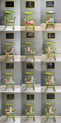 little teas: monthly photo    i like the idea of chalkboard over rocker in the nursery for monthly pics, wish i would of seen this a few years ago