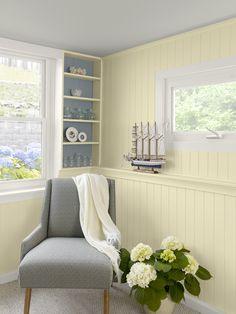 Coastal home office vignette-walls: lemon sorbet ceiling: tranquility trim: simply white bookshelf inset: van courtland blue Home Decor Accessories, Cheap Home Decor, Interior Paint Colors, Home Remodeling, Interior, Interior Paint, Painting Wood Paneling, Home Decor, House Interior