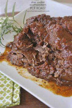 Slow Cooker Southwestern Pot Roast was voted the best pot roast he's ever had by my husband. He's eaten a lot of pot roast!