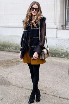 Olivia Palermo Style Icon for the Ages - theFashionSpot Fashion Week Paris, Street Fashion, Punk Fashion, Lolita Fashion, Fashion Boots, Celebrity Outfits, Celebrity Style, Black Tights Outfit, Olivia Palermo Stil