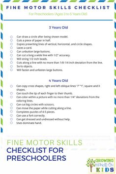 Fine motor skills checklist for preschoolers ages 3-5. Perfect for home, classroom, or therapy sessions.