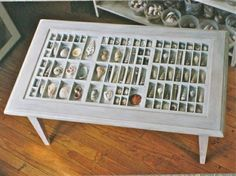 printer's drawer coffee table!! As a designer--using a printers table for anything makes me excited, but being able to use it or my seashell collection would just be brilliant. Really smart idea!