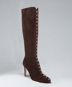 Valentino brown suede spike front boots -  Valentino brown suede spike front boots Valentino brown suede spike front boots Soft suede upper Tapered point toe Pale goldtone spiked pyramid studs stripe up vamp Side zip closure Leather lined Leather sole More Information Price $1,295.00 Sale Price $783.99