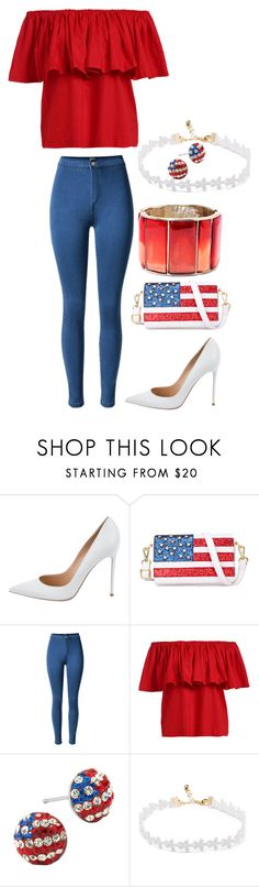"""""""4th of July outfit"""" by juenal on Polyvore featuring Gianvito Rossi, Chicnova Fashion and Oscar de la Renta"""