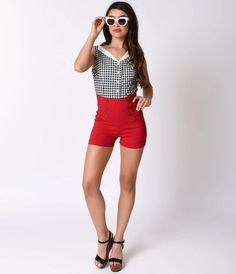 We sense a storm coming, darling. These cherry red high waisted shorts are full of stretch and hug your covetable curves without restricting movement. This nautical inspired retro pair boasts comfortable side shirring, a no fuss pull on design and side po
