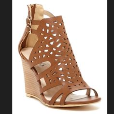 """Wedge sandal Open toe , dual ankle buckle strap, back zip closure 3.5 """" height Shoes Wedges"""