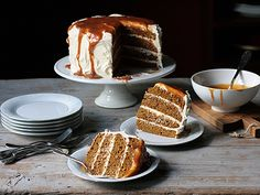 Pumpkin Spice Cake Cream Cheese Frosting & Caramel by Thermidor via tastespotting #Cake #Pumpkin_Spice #Caramel #Cream_Cheese