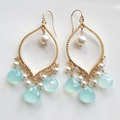 Gold Arabesque Aqua Chalcedony White Pearl Chandelier by 10west