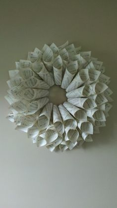 This pic is a crappy cell phone one, but you get the idea! Wreath Crafts, Diy Wreath, Burlap Wreath, Holiday Crafts, Diy Paper, Paper Crafts, Diy Crafts, Craft Projects, Craft Ideas