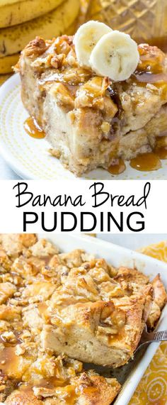 Warm, gooey and full of banana bread flavor, this Banana Bread Pudding is a delicious and easy breakfast or dessert treat that is hard to resist! # Bread pudding Source by nancymcdown Dessert Oreo, Banana Dessert Recipes, Banana Pudding Recipes, Delicious Breakfast Recipes, Pudding Desserts, Easy Desserts, Caramel Pudding, Easy Bread Pudding, Desserts With Bananas