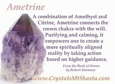 Crystal of the Day - Ametrine, a combination of Amethyst and Citrine which unites the crown chakra with the will! www.crystalsmtshasta.com