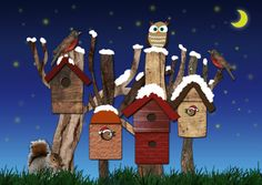 Christmas card with birdhouses   design: Hilde Reurink
