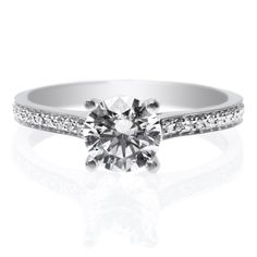 Platinum Channel Set Four Prong Diamond Engagement Ring with Milgrain by Long's Signature Collection