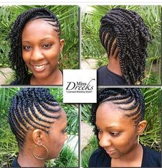 Find out the best braid size to use to your advantage to grow your hair long. Black hair will grow well with braids but only under certain circumstances. Natural Styles, African Braids Hairstyles, Braided Hairstyles, Protective Hairstyles, Braided Updo, African Hair Braiding, Cornrows Updo, Flat Twist Hairstyles, Dreadlock Hairstyles