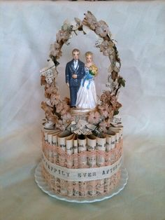 Peach Vintage Inspired Wedding Cake Topper by SixpenceAntiques, $155.00