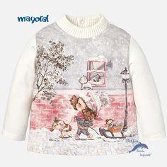 Camiseta de niña bebe MAYORAL manga larga semicisne trineo