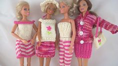 Exclusive collection of pink and cream hand knit Barbie clothes. OOAK bundle of clothes for 12inch fashion doll. Mix and match doll outfits. by Nobodyknitsitbetter on Etsy