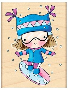 Extreme Mimi (Snowboarding) - Wood Rubber Stamp