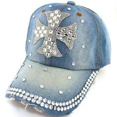 A Gorgeous Stud Embellished Baseball Cap. Snapback Hats, Beanie Hats, Designer Caps, Denim Cap, Stylish Caps, Denim And Diamonds, Hat Patches, Bling Shoes, Diy Hat