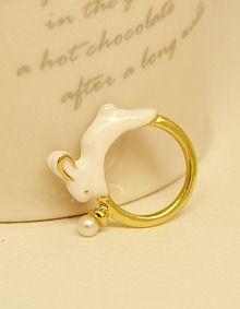 Gold Glaze Rabbit Ring