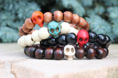 Men's Skull & Wood Bracelet Choice of Color and by BeauBishop, $7.50