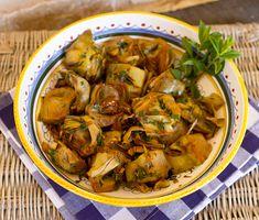 Golden Braised Artichokes With Garlic & Mint
