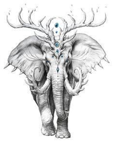 Trademark Art 'Elephant Soul' Graphic Art Print on Wrapped Canvas Size: Animal Drawings, Pencil Drawings, Image Elephant, Arte Grunge, Art Watercolor, Desenho Tattoo, Elephant Tattoos, Art Sketches, Fantasy Art
