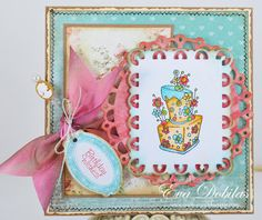 topsy turvy cakes stamped card   topsy turvy cakes clear stamps $ 16 95 4 x 6 set of 19 clear stamps ...