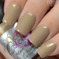 """What Dreams BBBecome! """"What Dreams BBBecome!!!"""" is part of """"Let's Get Acquainted"""" premier Artisan Nail Glaze Collection made by Domani Color.  What dreams become is a muted brown nude color, with a golden shimmer running throughout. It has a very fine textured like finish, and benefits from a thick top coat to make smooth."""