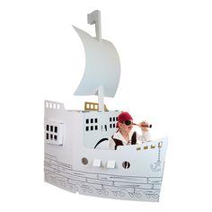 Bateau pirate en carton Wiplii à peindre ou à gribouiller, parfaitement adapté aux enfants de 0 à 8 ans.