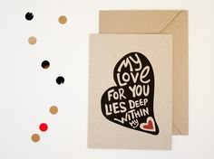 Valentine's card / Valentijn - A5 grijsboard - My love for you