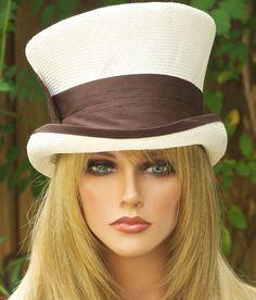 Mad Hatter Top Hat, Victorian English Riding Hat. Cream Ivory & Brown Hat…