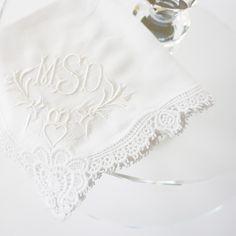 Irish Claddagh design on Claddagh Cluny Lace handkerchief for St. Patrick's Day or weddings.