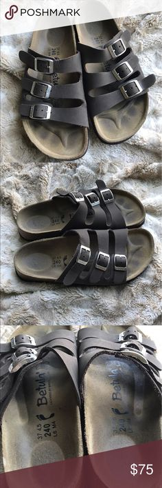 Birkenstock Betula Sandals Birkenstock Betula sandals. EUC. Size 37/women's 6. Three adjustable straps. Barely worn, lots of life left! Only minor wear is on straps as shown. Taupe/sandy brown color. Birkenstock Shoes Sandals
