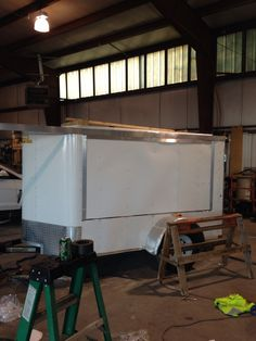 Bed door re skinned and trim on Enclosed Trailer Camper Conversion, Enclosed Trailers, Bed, Stream Bed, Beds, Bedding
