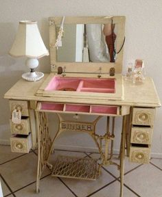 Re-purposed sewing cabinet.