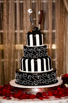 """This unique cake was inspired from """"The Nightmare Before Christmas"""" - this fun couples theme was """"The Wedding Before Christmas!"""