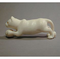 Japanese Hand-Carved IVORY Cat w/ Ball Signed Netsuke