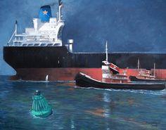 Simon G B Roberts • Marustar Bulk Carrier With Two Tug Escort •  Tugs Escort a Bulk Carrier into Port