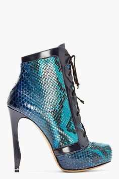 Nicholas Kirkwood Teal Snakeskin Lace-up Ankle Boots for women | SSENSE