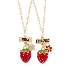 Best Friends Strawberry Pendant Necklaces | Claire's