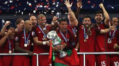Portugal win a first major international trophy as they overcome the loss of captain Cristiano Ronaldo to beat hosts France in the Euro 2016 final. Cristiano Ronaldo Junior, Cr7 Ronaldo, Messi, Portugal Euro, Portugal National Team, Usa Sports, Sports News, Soccer News, Ronaldo Football