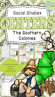 Colonial America Southern Colonies Task cards, informational reading, foldable and vocabulary sheet. Great for 5th grade social studies.