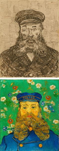 Portraits of Joseph Roulin, Vincent van Gogh, 1888, J. Paul Getty Museum and 1889, The Kröller-Müller Museum