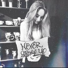 """Sabrina Carpenter's """"Never Grow Up"""" Pillow"""